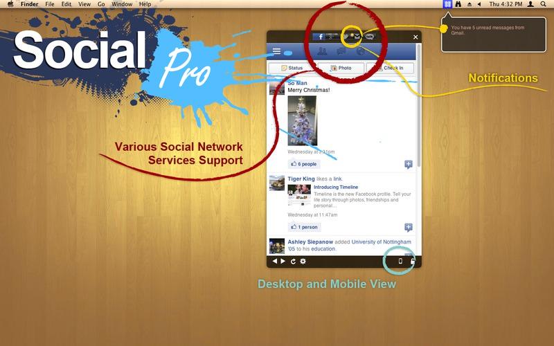 無料セール中 Facebook Twitter Gmail Google +のメニューバー管理アプリ「Social Pro」