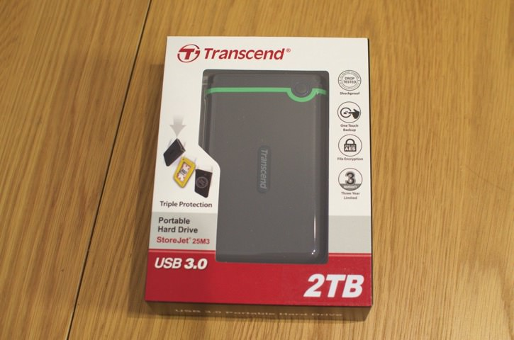 衝撃に強いUSB3.0のポータブルHDD「Transcend M3」