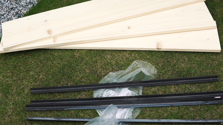 材料 クランク型アイアン 1×10材 ホワイトウッド