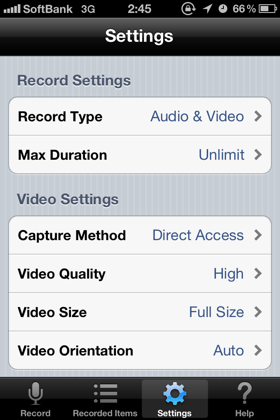 display recorder Settings